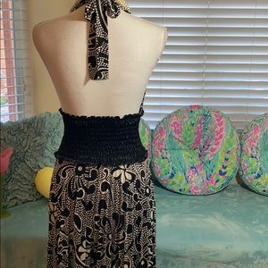 Black and white floral/geo stretchy halter dress